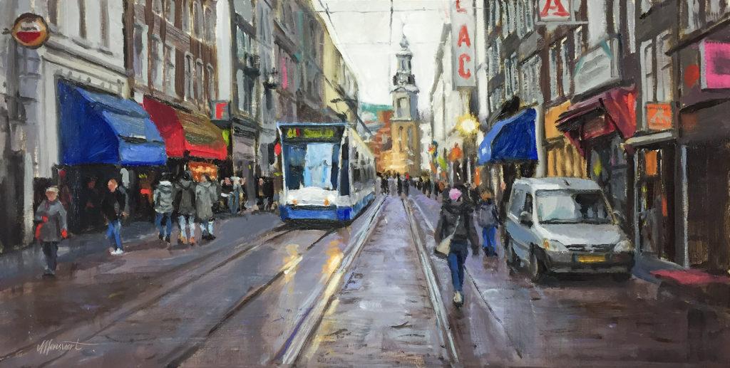 amsterdam stadgezicht schilderij kunst straat tram auto