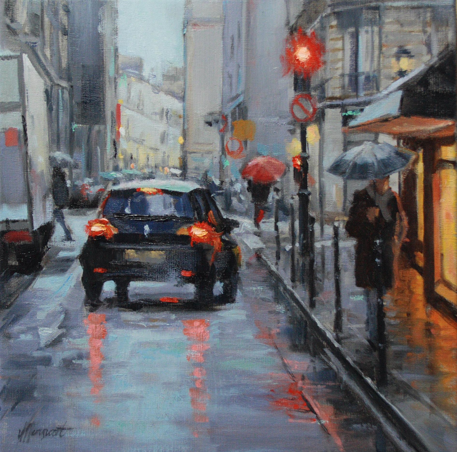 stadsgezicht straat schilderij cityscene
