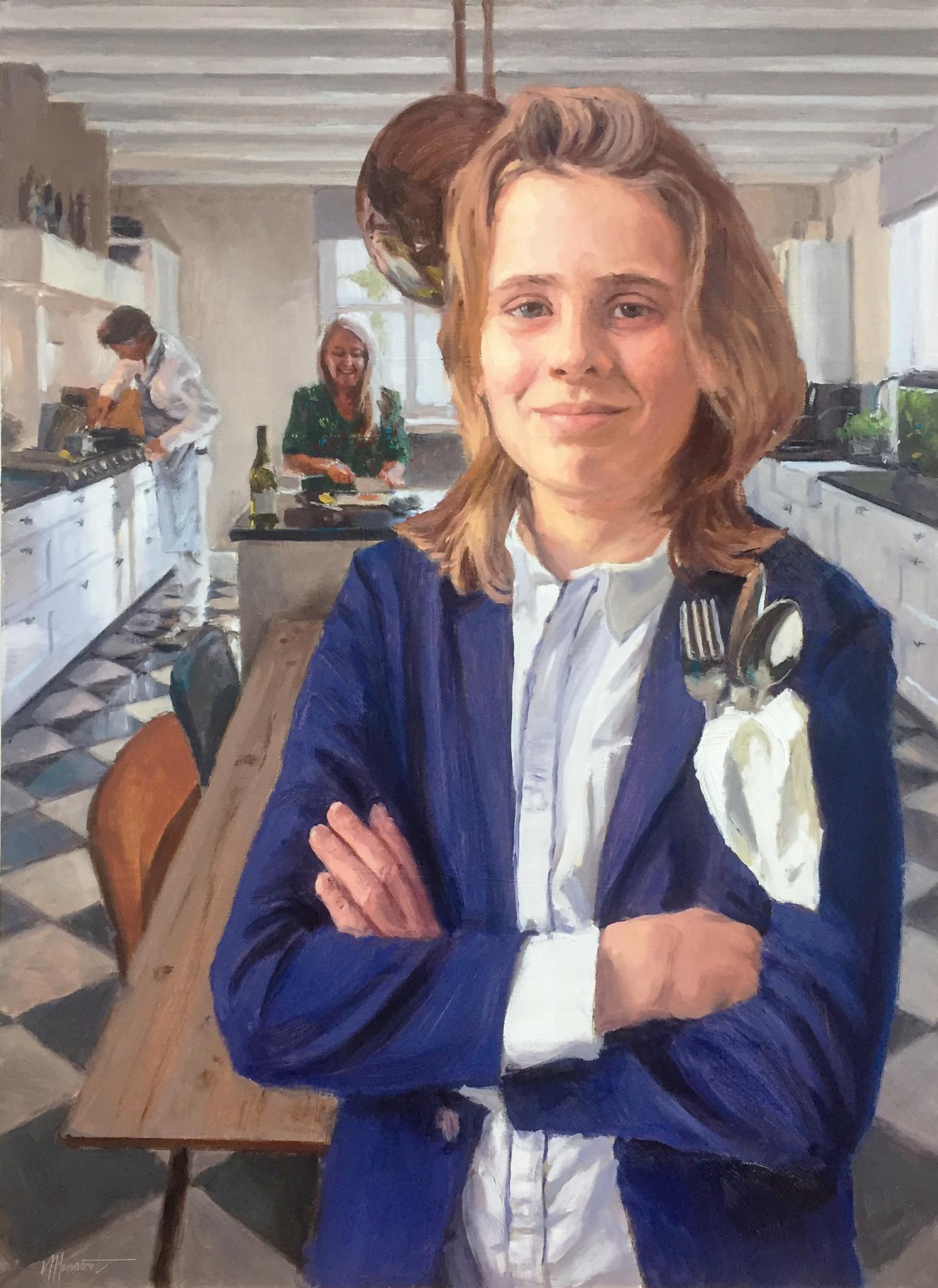 schilderij portret jongen in keuken